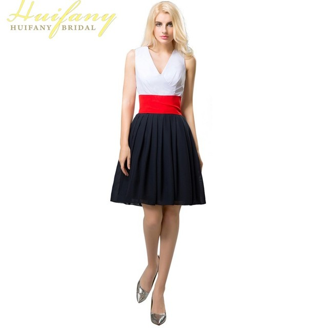 Simply White And Black V Neck A Line Short Prom Dresses With Red