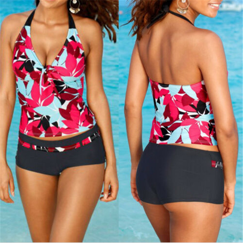 Red Print Bikini 2019 Women Swimwear Female Swimsuit Two Piece Bikini Set Brazilian Bather Bathing Suit Halter Trunks Swim Suits