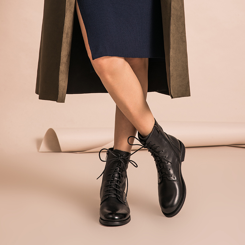 BeauToday Ankle Boots Women Genuine Leather Lace Up Side Zipper Top Quality Autumn Winter Lady Shoes Handmade 02012 - 3