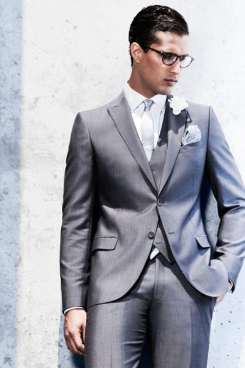 Custom Made Silver Men Suit Light Wedding Suits For Slim Fit Groom Tuxedos Jacket Pant Vest Tie Handkerchiefs In From S Clothing