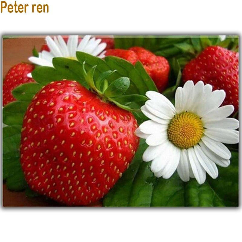 Peter ren Diy Diamond vyšívání Strawberry & Daisy Plné diamantové malování Květiny pro ložnici 3D náměstí Nástěnné mozaikové nástěnné malby
