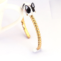 European Style Enamel Bullfight Dog Black And White Puppy Bone Gold Luxury Bangle For Woman Fashion Jewelry New Arrivals