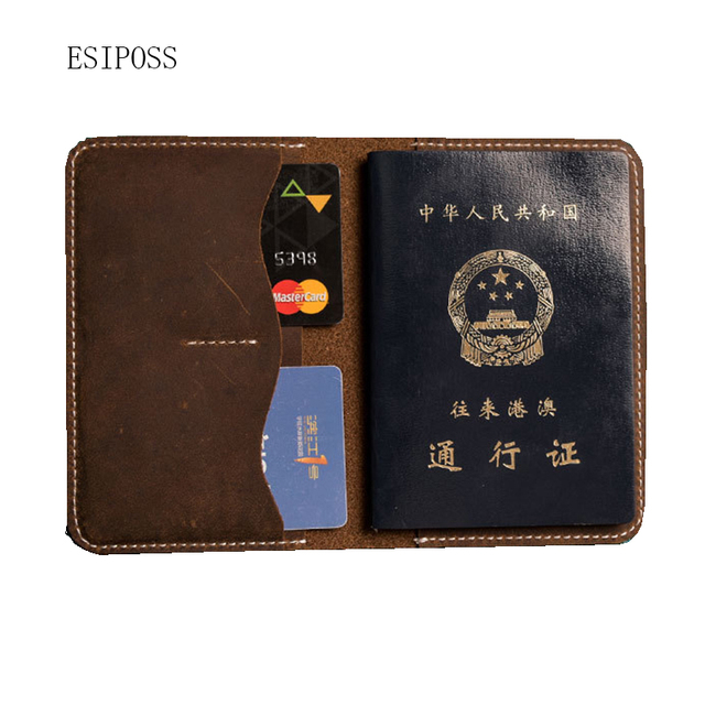 c5578fa810c6 US $20.91 49% OFF|Retro crazy horse leather man passport wallet genuine cow  leather RFID BLOCKING passport cover card holder wallet travel purse-in ...