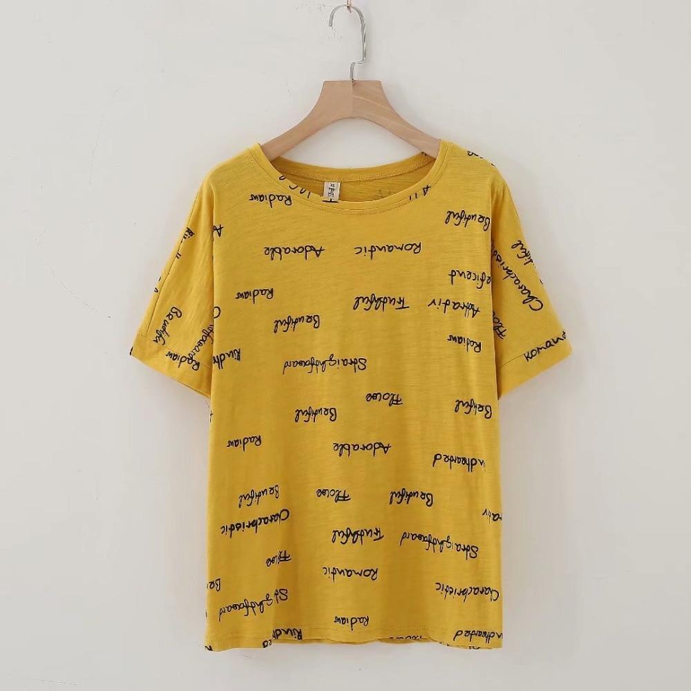 Plus size cotton drop-shoulder sleeve ladies tee shirt letter print women summer t-shirt 2018 new white & black & yellow t shirt