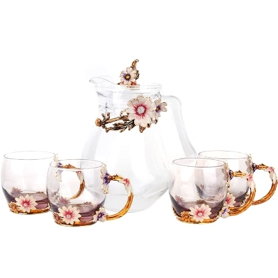 Creative kettle tea cup fruit juice cup heat resistant crystal glass high grade coffee cups Free