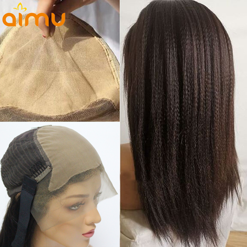 Fake Scalp 13 6 Lace Front Yaki Straight Real Human Hair Wigs Remy Brazilian Natural Invisible