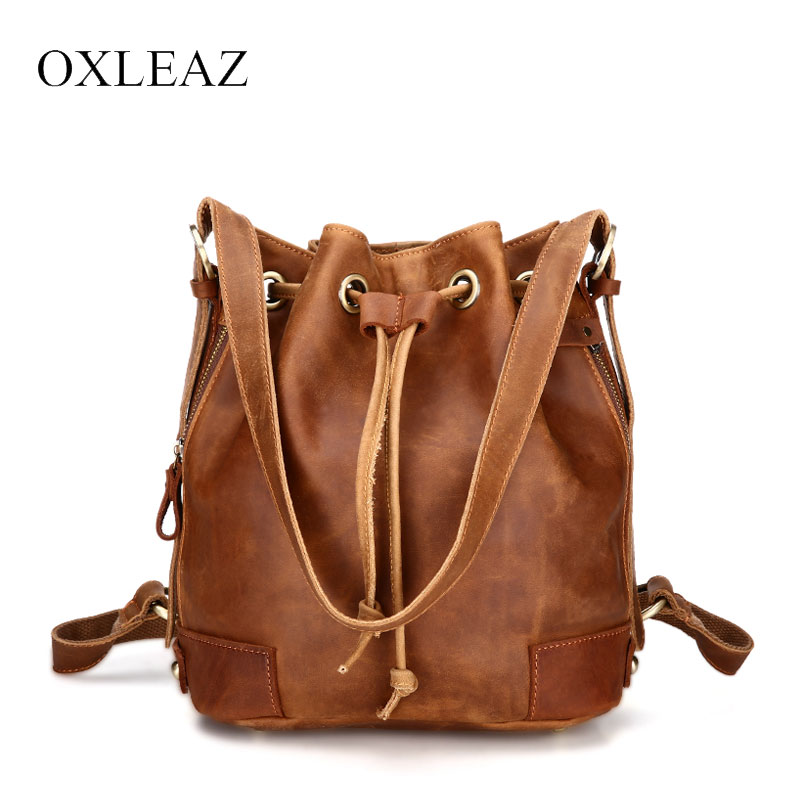 OXLEAZ Vintage Drawstring Hand Bag Women Bucket Bag Genuine Leather Shoulder Bags Brand Handbag Ladies Crossbody Messenger Bags цена