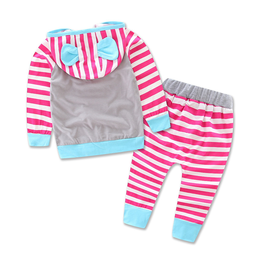 SAMGAMI BABY Newborn Baby Zebra Striped Leisure Suit Kids Infant Baby Girls Clothes Hooded T-shirt Top + Pants 2pcs Set Girls