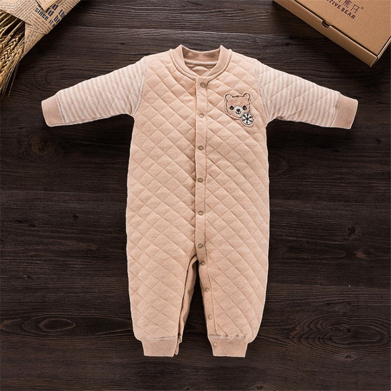 Winter Newborn Baby Rompers Thicken Warm Air Cotton Bebe Clothes Long Sleeved Cartoon Bear Pattem Baby Jumpsuit Free Shipping