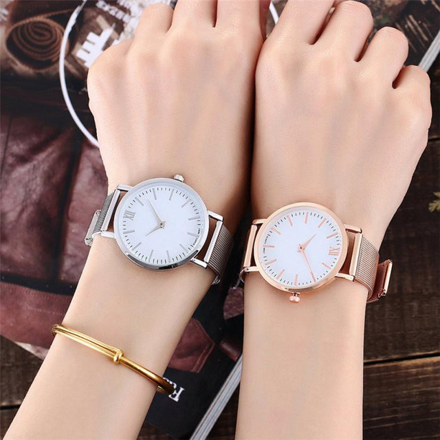 Luxury Stainless Mesh Band Lovers' Watches Women Men Simple Design Business Wris