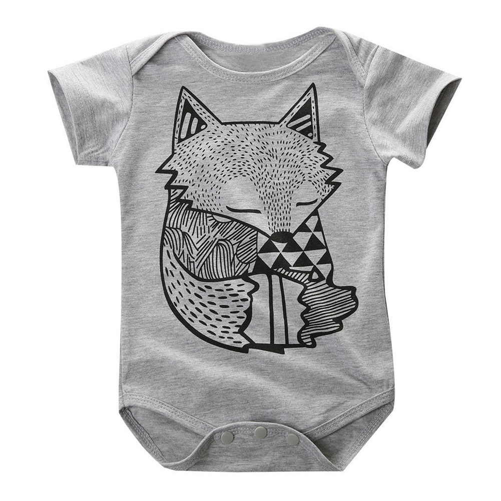 Wholesale!New Toddler Boys Girls Baby Fox Romper Jumpsuit Playsuit 1PCS Outfits Clothes Colors:Gray Sizes:0-6 Months
