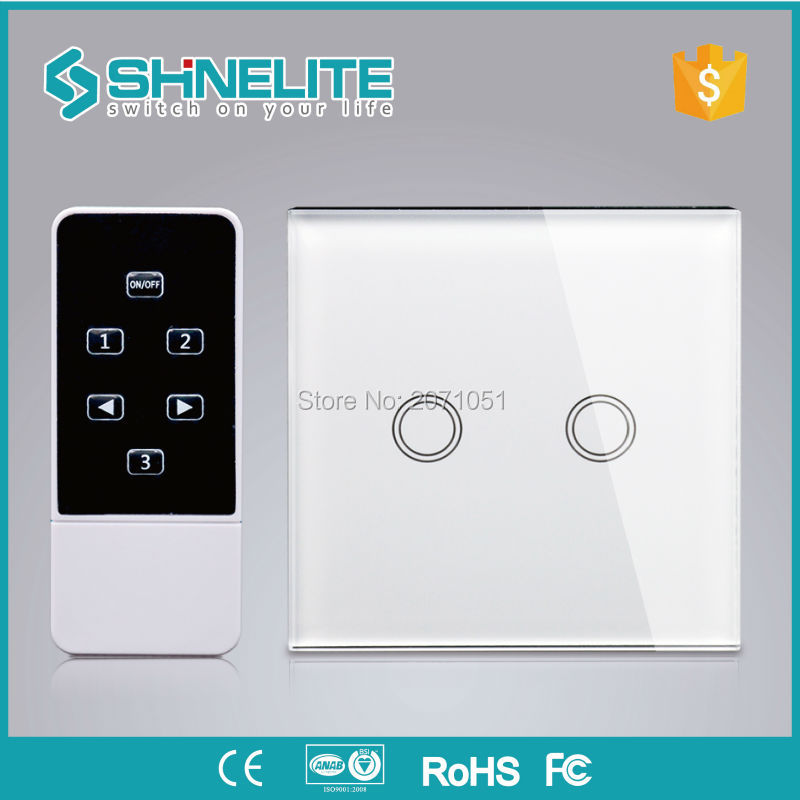 Shinelite 2gang UK standard crystal panel touch screen switch/domotica smart house home automation remote control touch screen smart home us black 1 gang touch switch screen wireless remote control wall light touch switch control with crystal glass panel