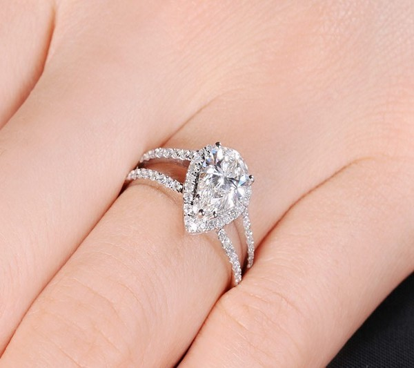 Top Quality 990 Sterling Silver Wedding Rings for Women Pear Shape