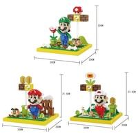 Funny classic Nintendoes game scene model micro diamond building block super mario bros Luigi nanoblock assemable toys for gifts