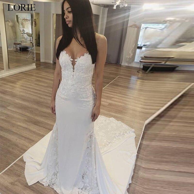 LORIE 2019 Mermaid Wedding dress V neck Sleeveless Backless Lace Appliques Bride dress White Ivory Long Train vestido de noiva