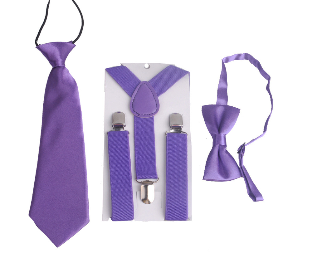 purple Color Boys Kids childs girls Suspenders BowTie Butterfly Tie Easy to Wear For Boy HH0001a04