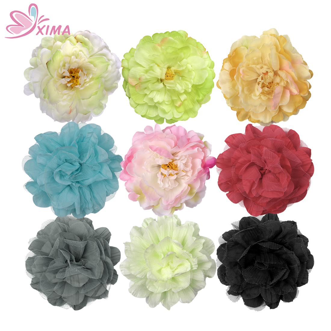 Online get cheap fake hair flowers aliexpress alibaba group xima 9pcslot kids fake floral hair bows big peony corsage and lace flower alligator dhlflorist Choice Image