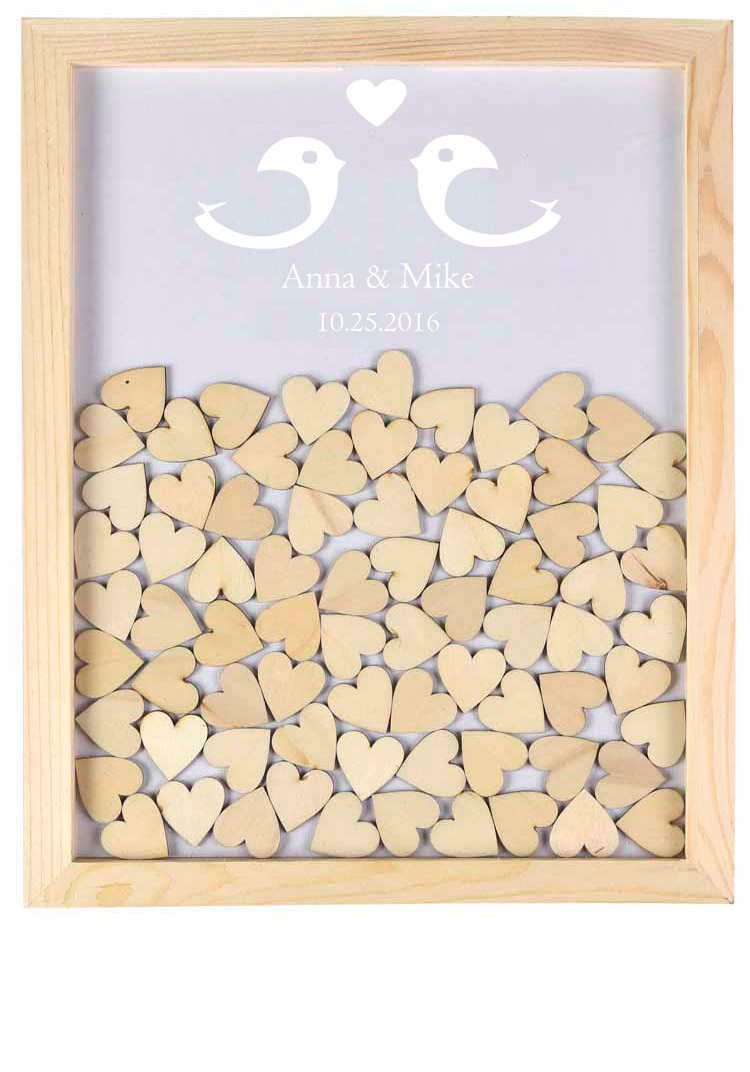 Wooden Hearts Wedding Guest Book,Alternatives Drop Top Guestbook Personalized Wedding Guest Book,Rustic Engagement Sign Frame