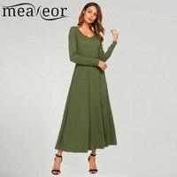 Meaneor Brand 2017 New Fashion Women S Dress V Neck Long Sleeve Solid Split Slim Fit