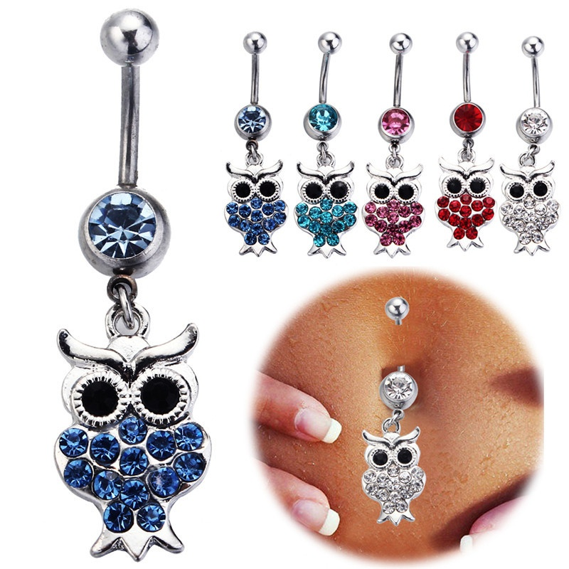 Fashion women owl belly button rings stainless steel navel for Belly button jewelry store