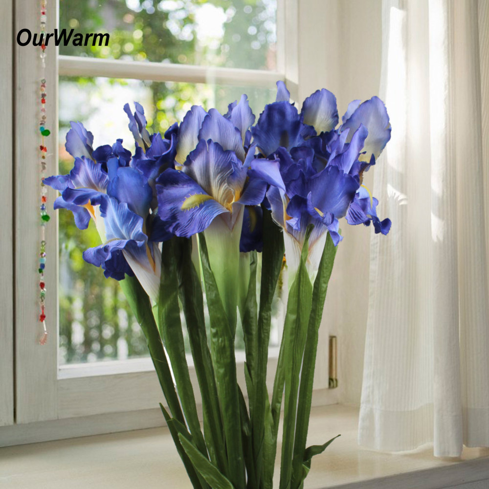 Ourwarm 3/5/11 pçs flores de seda artificial verdadeiro toque íris falso flores para casa flores de casamento decoração festa acessório flores