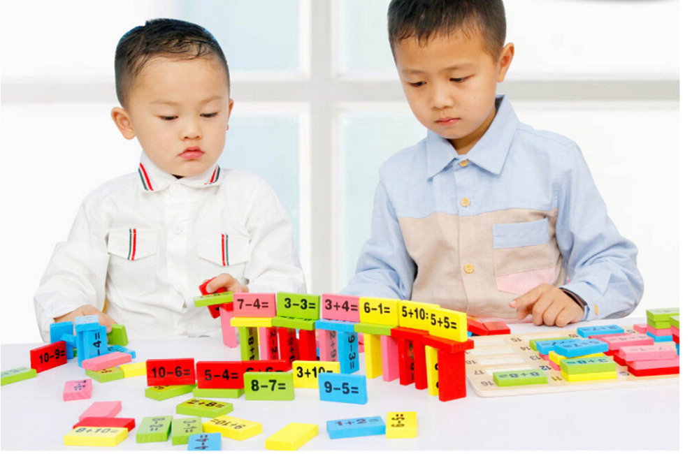 Wooden mathematics colored dominoes Children number educational toy ...