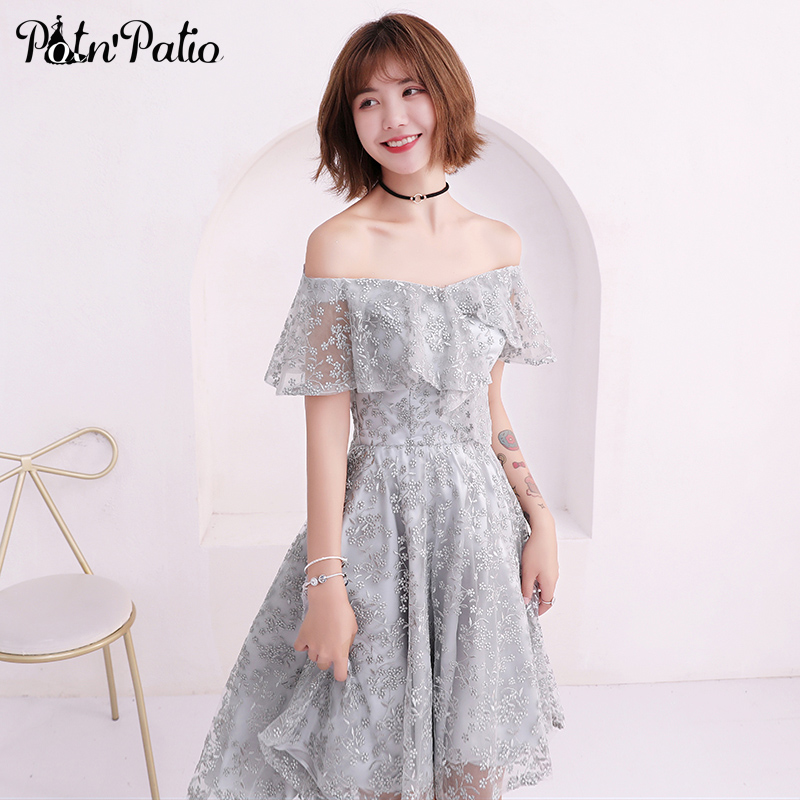 Boat Neck Off The Shoulder Ruffles Silver Gray Short Homecoming Dresses 2019 Sexy Lace High Low Dress For Graduation Party