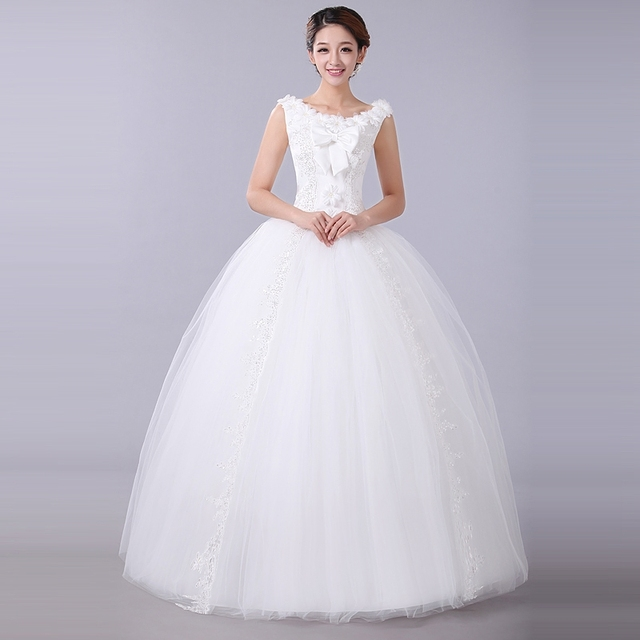 Cheap Price Wedding Dress From China 2014 Double Shoulder Vintage Elegant Princess Bride Dresses Autumn