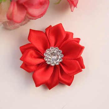 300 pcs/lot ,4 cm mini satin fabric flower,Hand-stitched satin flowers with rhinestone apparel fashion accessories tie headwear