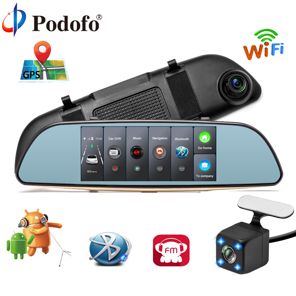 Podofo Видеорегистраторы для автомобилей 3g сенсорный зеркало Камера 7 регистраторы Full HD 1080p видео Регистраторы Камера Android 5,0 gps Зеркало заднег...