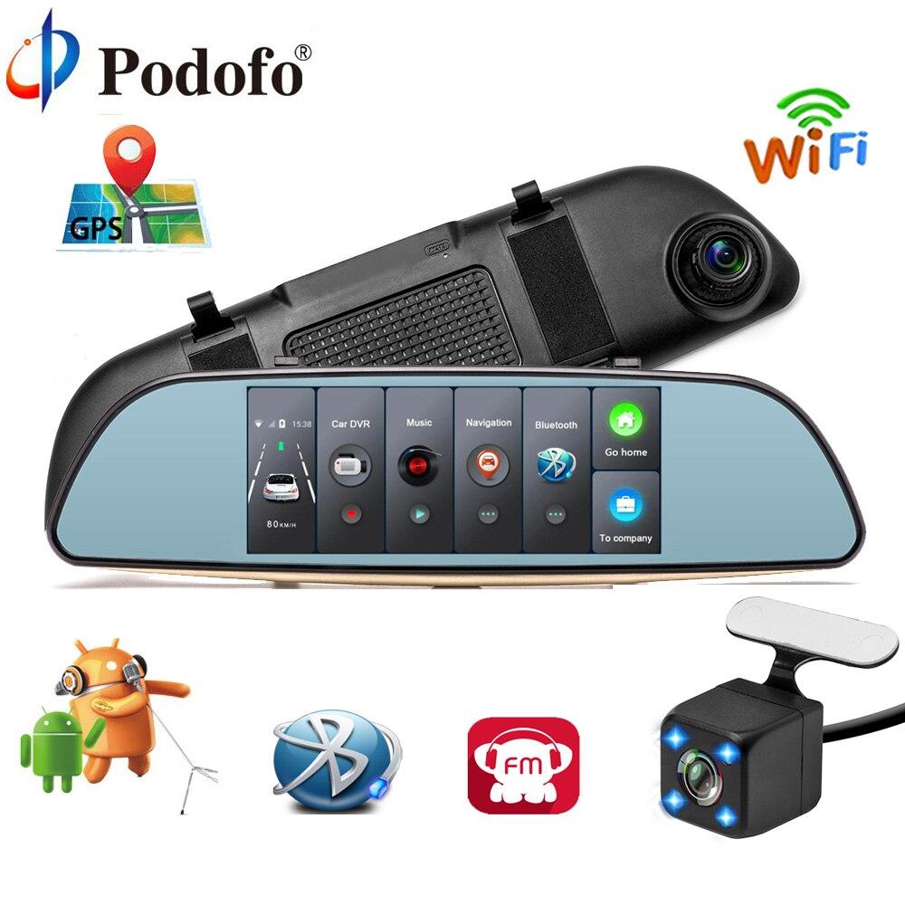 Podofo Автомобильный dvr 3g сенсорная зеркальная камера 7 Dash Cam Full HD 1080p видео рекордер камера Android 5,0 gps зеркало заднего вида Регистратор