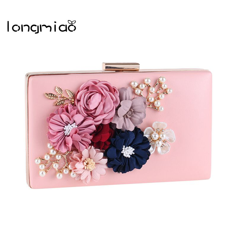 longmiao Women Handmade Flower Pearl Luxury Evening Bags Wedding Bride Day Clutch Wedding Party Floral Girls Messenger Bag 2017 new mini shoulder messenger bag famous brand luxury elegant bead evening bag clutch pearl handbag bride bags for wedding