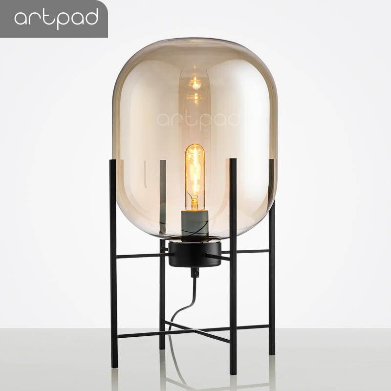 Artpad nordique Art créatif verre lampe de bureau fumée gris/ambre abat-jour E27 Edison ampoule Vintage lampes de Table chambre salon