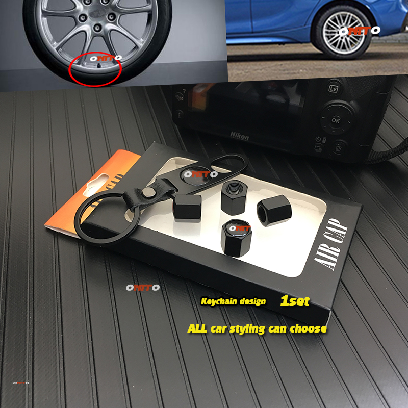 Leather Keychain + 4pcs Valve Cap Car-styling Case For Bmw Audi Benz  Porsche Toyota  Kia Hyundai Nissan Jeep Buick ...etc