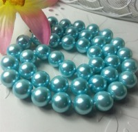 2015 DIY Fashion 10mm Blue Ocean Sea Shell Pearl Necklace Pearl Beads Fashion Jewelry Rope Chain