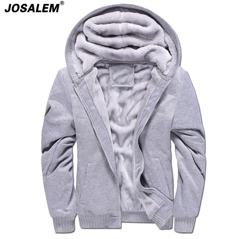 Plus Size Thick Velvet Zipper Hoodies Men 2017 Autumn Winter Warm Man Hooded Sweatshirts Coat Casual