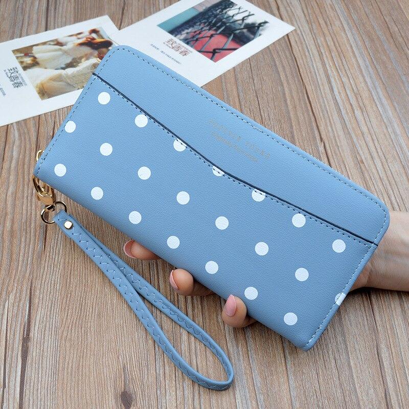 2019 New Women's Wallets Women's Long Zippers Korean Student Polka Dot Wallets Large Capacity Hand Bag Soft Wallets