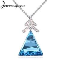 Jewecexpress Árbol y la colina de triángulo de Cristal Colgante Collar