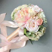 12pcs/pack Pink Imitation Flower Bouquet Wedding Decorative Artificial Flowers Bride Bridesmaid Holding Flowers