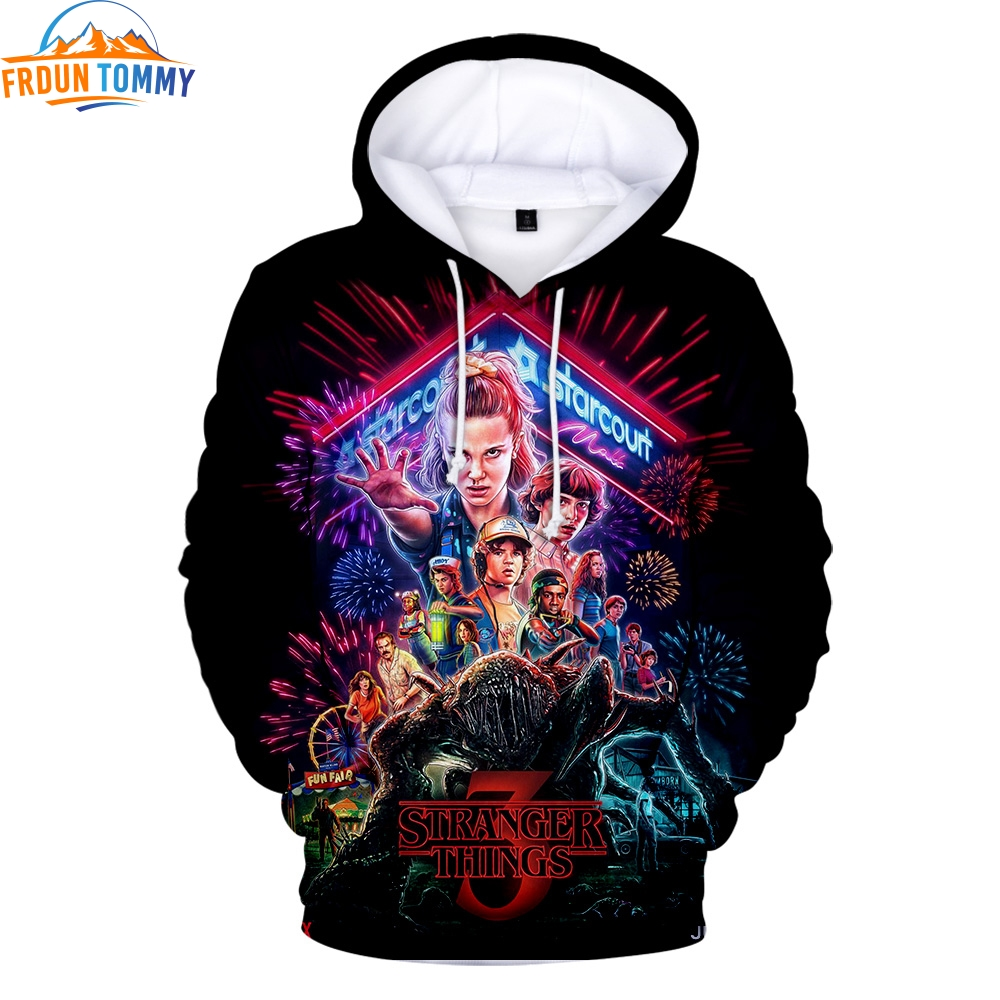 2019 3d Print Hot Men's Hoodie Tv Series Stranger Things Season 3 Sweatshirt High Quality Stranger Things Warm Hoodies Tops