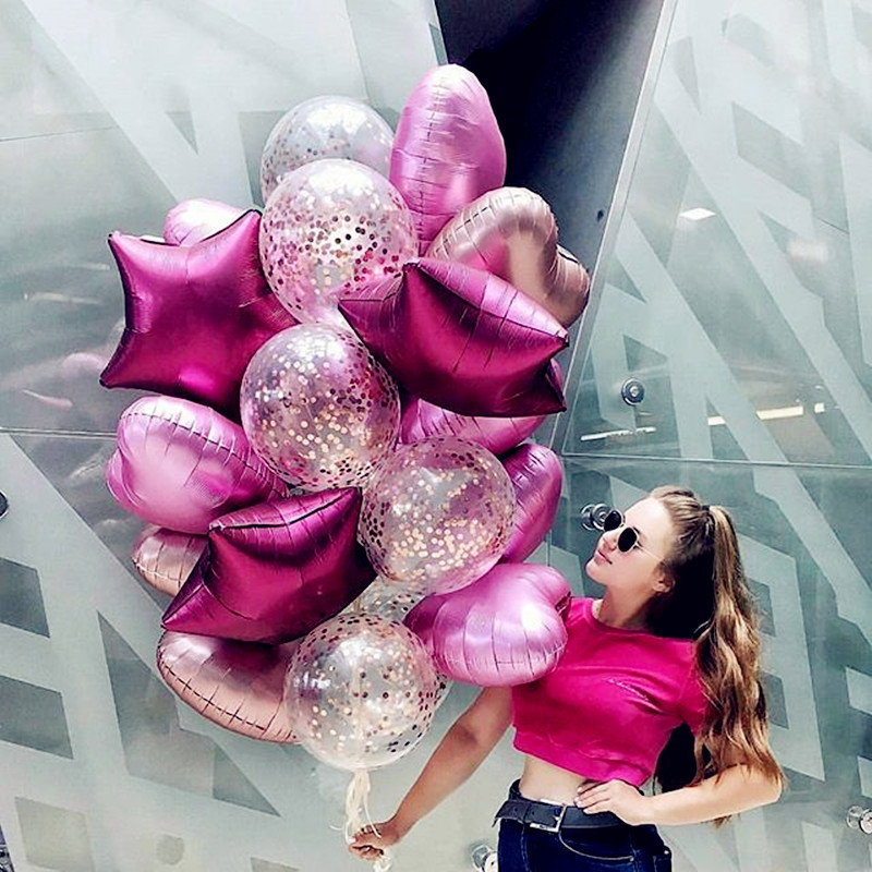 14Pcs Mixed Gold Confetti Balloons Birthday Party Decoration Metallic Balloon Air Ball Birthday Ballon Party Decor Star Love