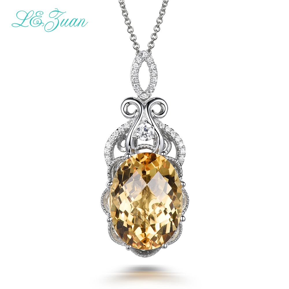 L&zuan Fine Jewelry Natural Citrine 925 sterling silver jewelry Necklaces Pendants For Women 8.65ct Drop Shipping P0074 W05