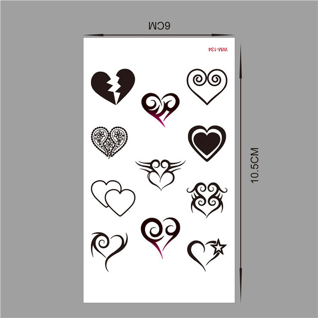 (Min Order $0.5) Temporary Tattoo For Woman Waterproof Stickers Makeup Maquiagem Various Forms Of The Heart Tattoo WM134