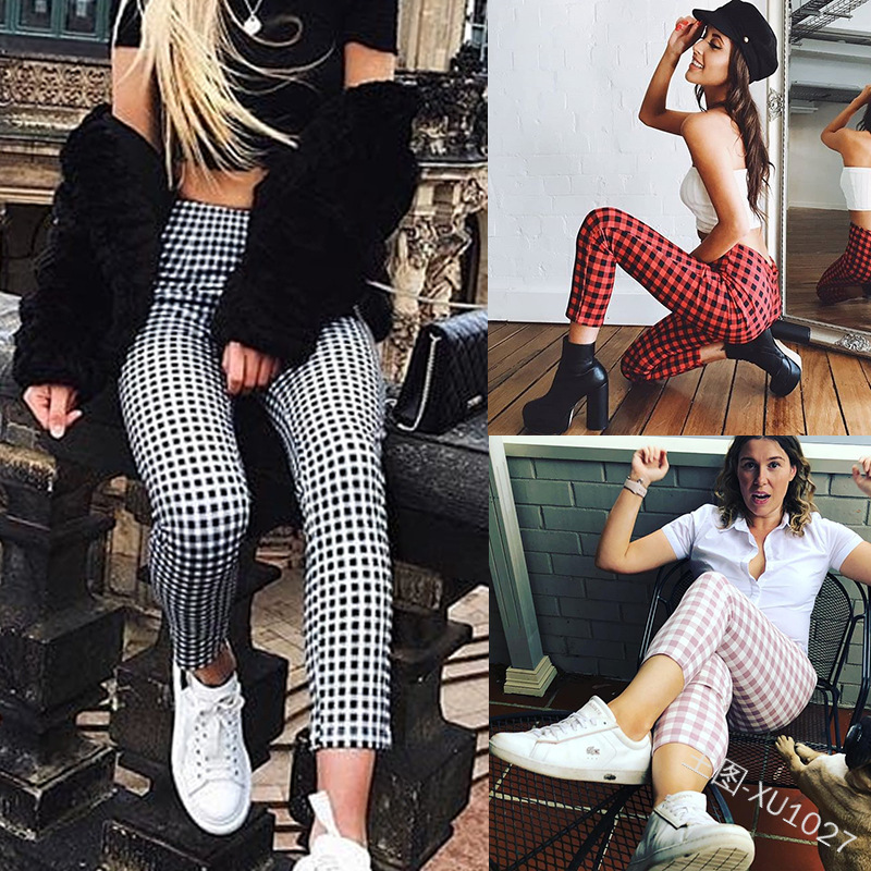 Spring Autumn 2020 New Kind Of High-waist Casual Chequered Bottom Pants Plaid Pants Korean Plus Size Pants Streetwear XX004