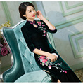High Quality Women Slim Long Sleeve Dress Chinese Style Evening Party Dress Female Qipao Vented Cheongsam Long Wedding Dress