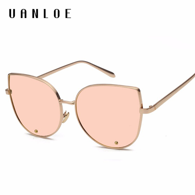 a9eaabfd47c17 UANLOE 2017 Nova Ladies Big Cat Eye Sunglasses Moda Mulheres Rose Gold  Espelho UV400 Óculos Vogue