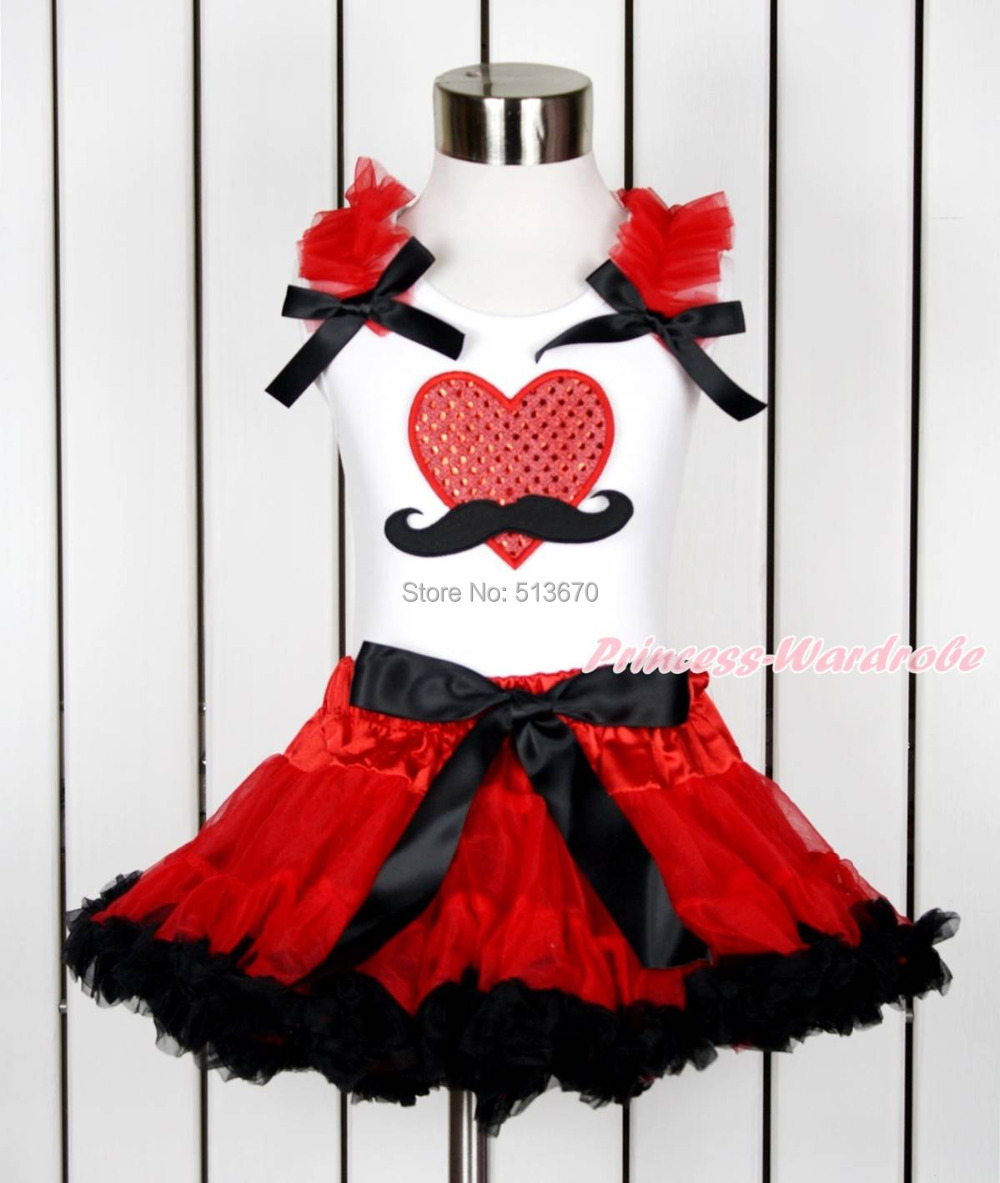 Valentine Sparkle Red Mustache Heart White Top Red Black Girl Pettiskirt 1-8Year MAPSA0117 red black 8 layered pettiskirt red sparkle number ruffle red bow tank top mamg575