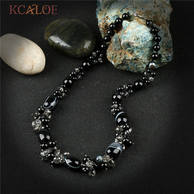 KCALOE Austria Crystal Handmade Charm Necklace Black Semi-Precious Stones Onyx Natural Stone Beaded Women Necklaces & Pendants