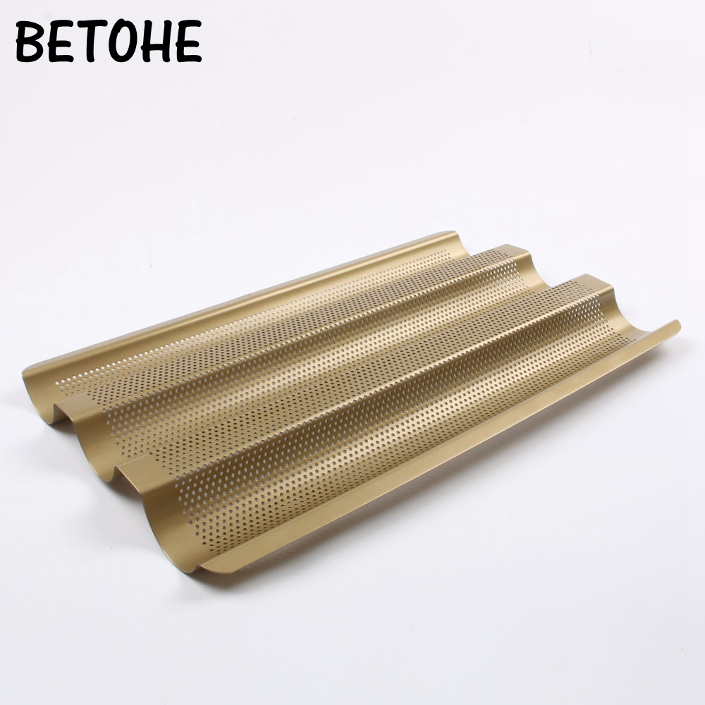 BETOHENew Baguette French Bread Baking Tray,Gold Color Baguette Frame Rack,Nonstick Carbon Steel Baguette Bread Baking Mold Pans