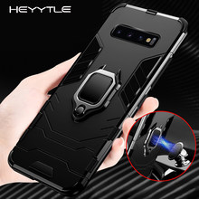 Heyytle Armor Shockproof Case For Samsung Galaxy S9 S8 Plus S7 edge A5 S10 Metal Magnet Case Ring Holder Case Note 8 9 Cover(China)